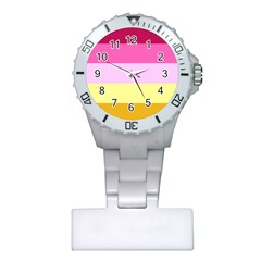 Red Orange Yellow Pink Sunny Color Combo Striped Pattern Stripes Plastic Nurses Watch