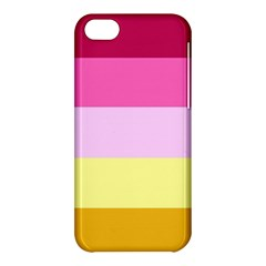 Red Orange Yellow Pink Sunny Color Combo Striped Pattern Stripes Apple Iphone 5c Hardshell Case