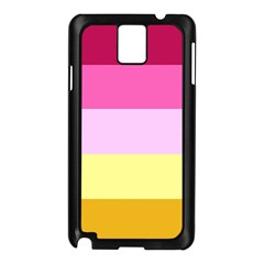 Red Orange Yellow Pink Sunny Color Combo Striped Pattern Stripes Samsung Galaxy Note 3 N9005 Case (black)