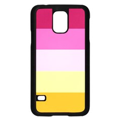 Red Orange Yellow Pink Sunny Color Combo Striped Pattern Stripes Samsung Galaxy S5 Case (black)