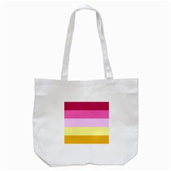 Red Orange Yellow Pink Sunny Color Combo Striped Pattern Stripes Tote Bag (white)
