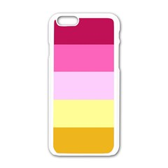 Red Orange Yellow Pink Sunny Color Combo Striped Pattern Stripes Apple Iphone 6/6s White Enamel Case