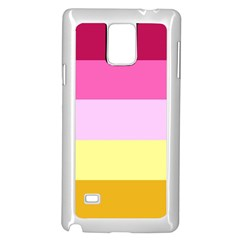 Red Orange Yellow Pink Sunny Color Combo Striped Pattern Stripes Samsung Galaxy Note 4 Case (white)
