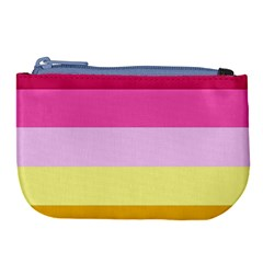 Red Orange Yellow Pink Sunny Color Combo Striped Pattern Stripes Large Coin Purse