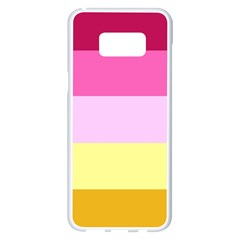 Red Orange Yellow Pink Sunny Color Combo Striped Pattern Stripes Samsung Galaxy S8 Plus White Seamless Case