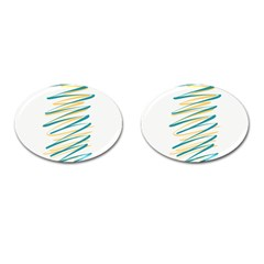 Twist Yellow Dark Green Cufflinks (oval)