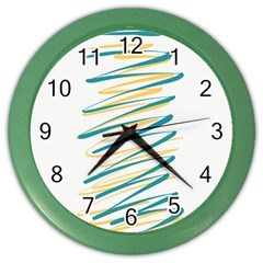 Twist Yellow Dark Green Color Wall Clocks