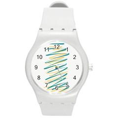 Twist Yellow Dark Green Round Plastic Sport Watch (m)