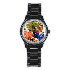 Painting And Letters Stainless Steel Round Watch