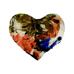Painting And Letters Standard 16  Premium Flano Heart Shape Cushions