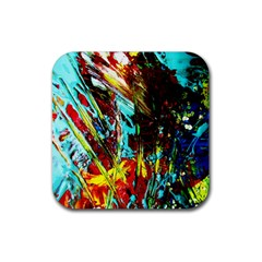 Two Hearts   One Beat 4 Rubber Square Coaster (4 Pack)