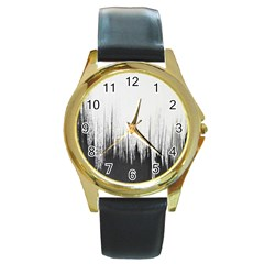 Simple Abstract Art Round Gold Metal Watch