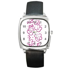Flower Pink Square Metal Watch