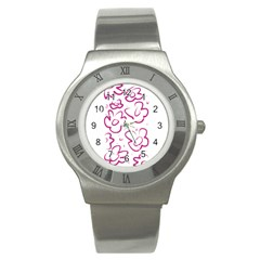 Flower Pink Stainless Steel Watch