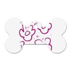 Flower Pink Dog Tag Bone (two Sides)