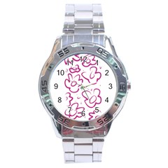Flower Pink Stainless Steel Analogue Watch