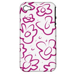 Flower Pink Apple Iphone 4/4s Hardshell Case (pc+silicone)