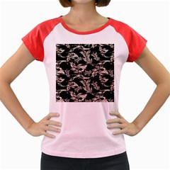 Floral Pattern Black Women s Cap Sleeve T Shirt