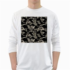 Floral Pattern Black White Long Sleeve T Shirts