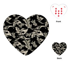 Floral Pattern Black Playing Cards (heart)