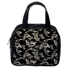 Floral Pattern Black Classic Handbags (one Side)