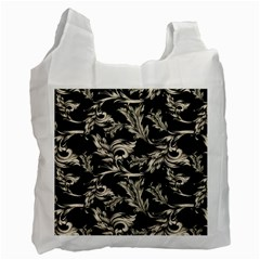Floral Pattern Black Recycle Bag (one Side)