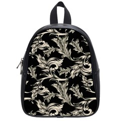 Floral Pattern Black School Bag (small)