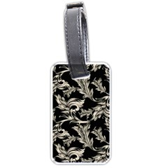 Floral Pattern Black Luggage Tags (one Side)