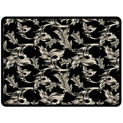 Floral Pattern Black Double Sided Fleece Blanket (large)