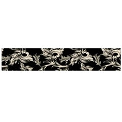 Floral Pattern Black Large Flano Scarf