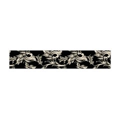 Floral Pattern Black Flano Scarf (mini)
