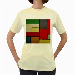 Color Block Art Painting Women s Yellow T Shirt