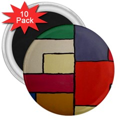 Color Block Art Painting 3  Magnets (10 Pack)