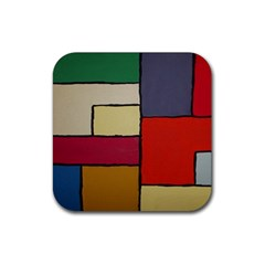 Color Block Art Painting Rubber Square Coaster (4 Pack)