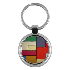 Color Block Art Painting Key Chains (round)