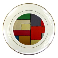 Color Block Art Painting Porcelain Plates
