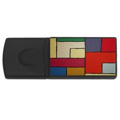 Color Block Art Painting Rectangular Usb Flash Drive