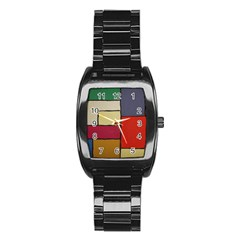 Color Block Art Painting Stainless Steel Barrel Watch