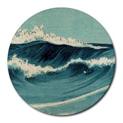 Waves Painting Round Mousepads