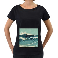 Waves Painting Women s Loose Fit T Shirt (black)