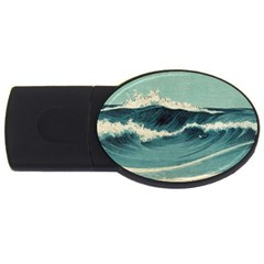 Waves Painting Usb Flash Drive Oval (4 Gb)
