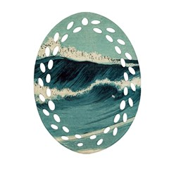 Waves Painting Oval Filigree Ornament (two Sides)