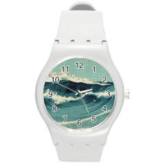 Waves Painting Round Plastic Sport Watch (m)