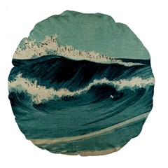 Waves Painting Large 18  Premium Flano Round Cushions