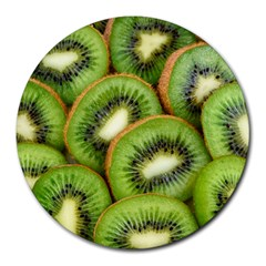 Sliced And Open Kiwi Fruit Round Mousepads by goodart