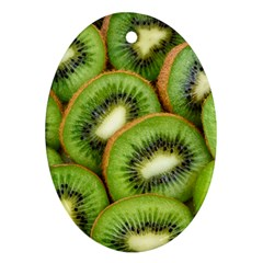 Sliced And Open Kiwi Fruit Ornament (oval)