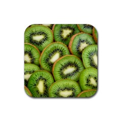 Sliced And Open Kiwi Fruit Rubber Square Coaster (4 Pack)