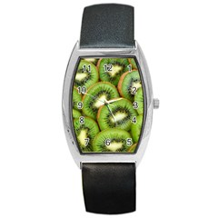 Sliced And Open Kiwi Fruit Barrel Style Metal Watch