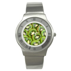 Sliced And Open Kiwi Fruit Stainless Steel Watch