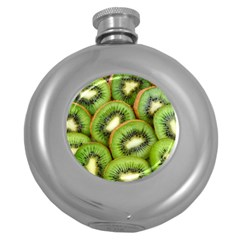 Sliced And Open Kiwi Fruit Round Hip Flask (5 Oz)